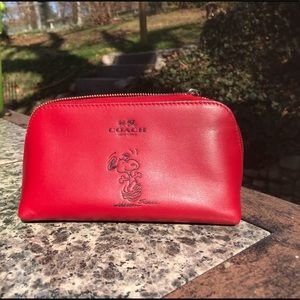 Coach Snoopy Peanuts Red Leather Makeup bag